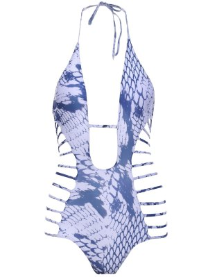 Snakeskin Print High-Cut One-Piece Swimwear - White
