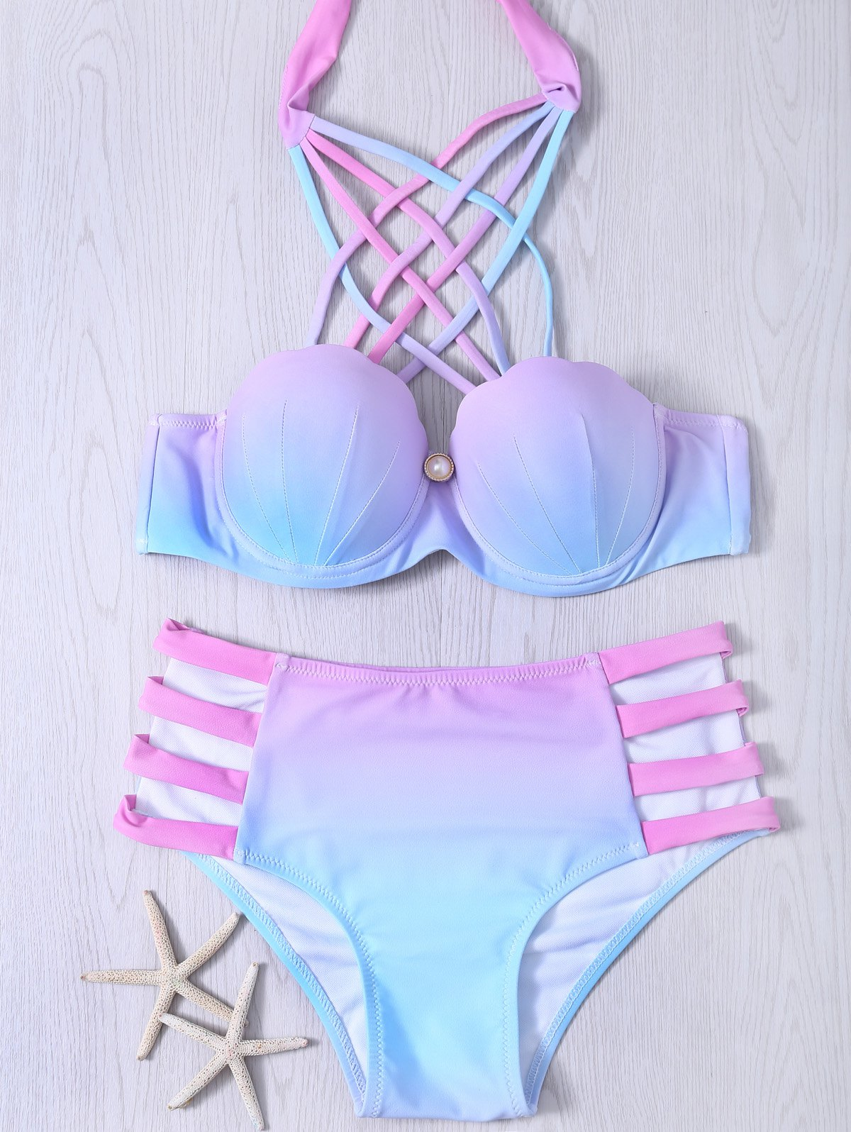 Lace-Up Hollow Out Gradient Bikini Set