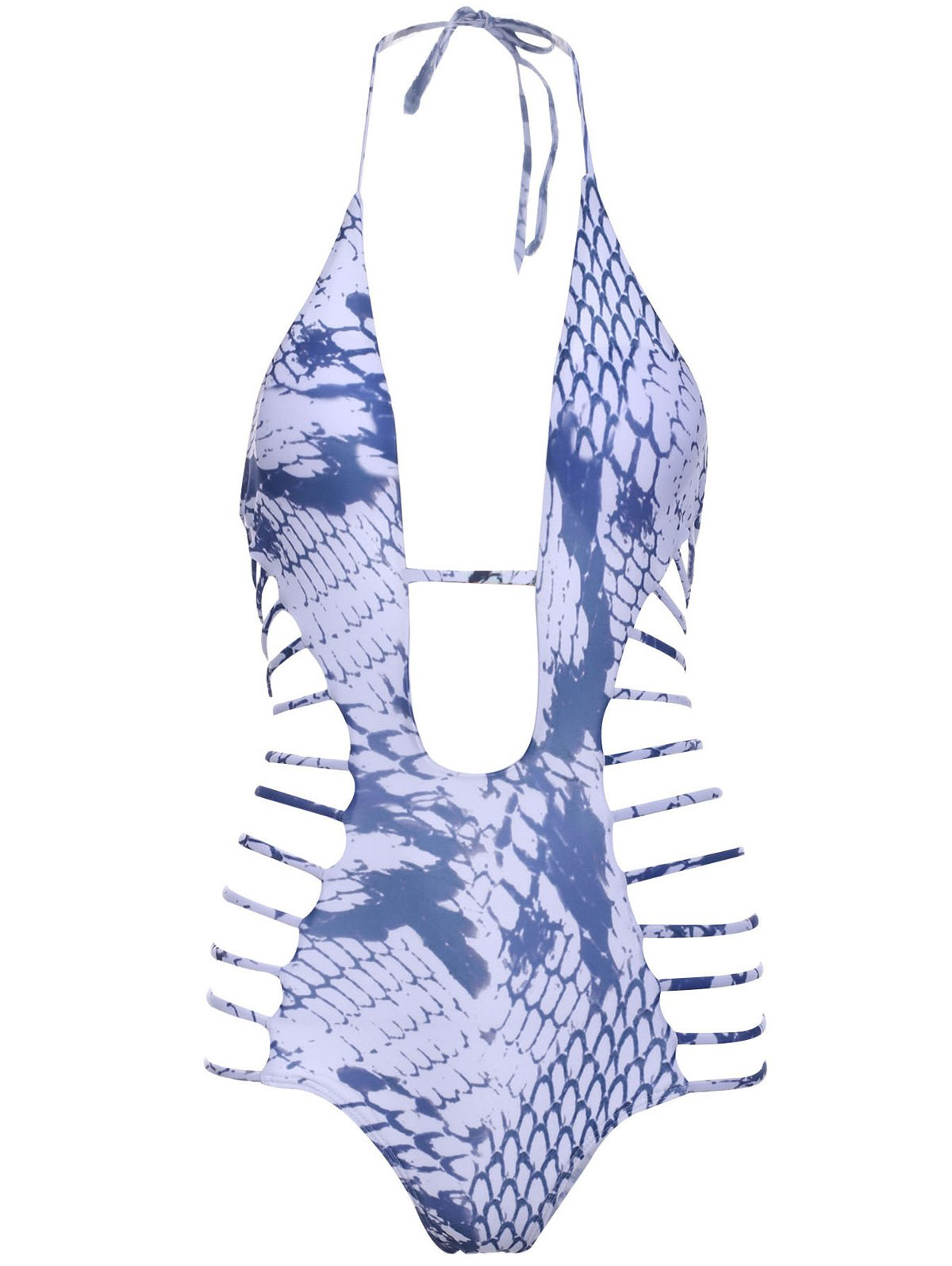 Halter Snakeskin Print High-Cut One-Piece Swimwear