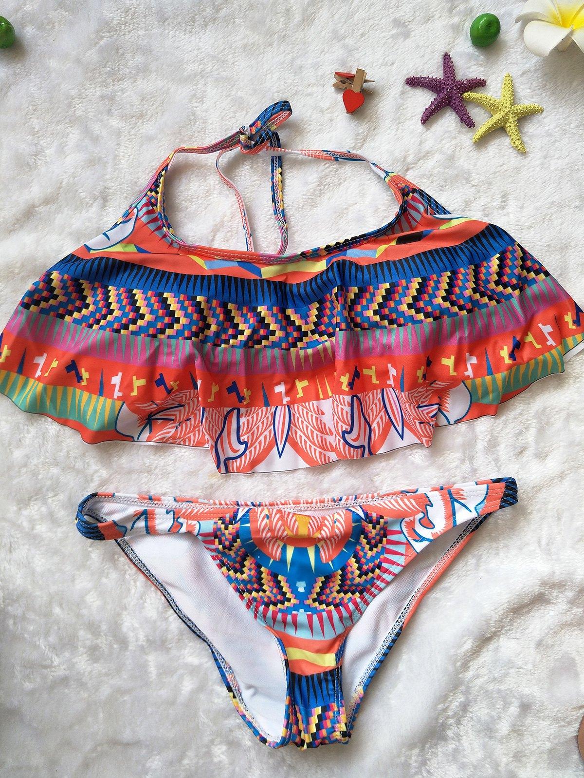 Halter Neck Ethnic Print Ruffles Bikini Set