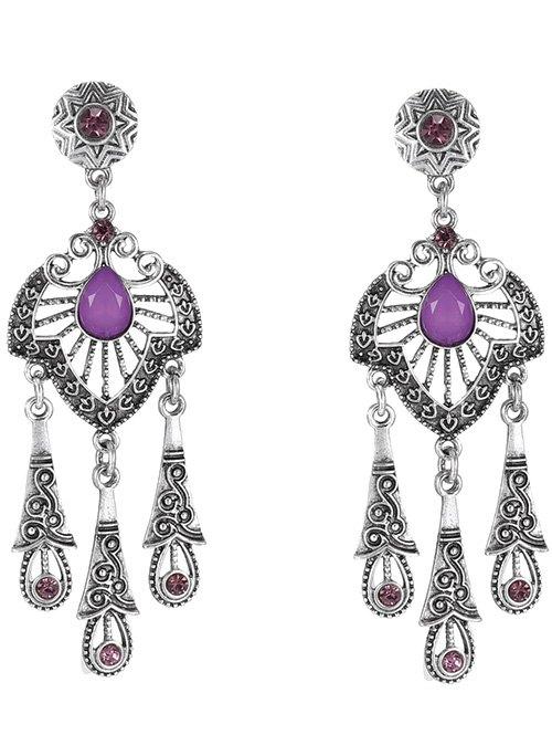 Charming Faux Amethyst Water Drop Earrings