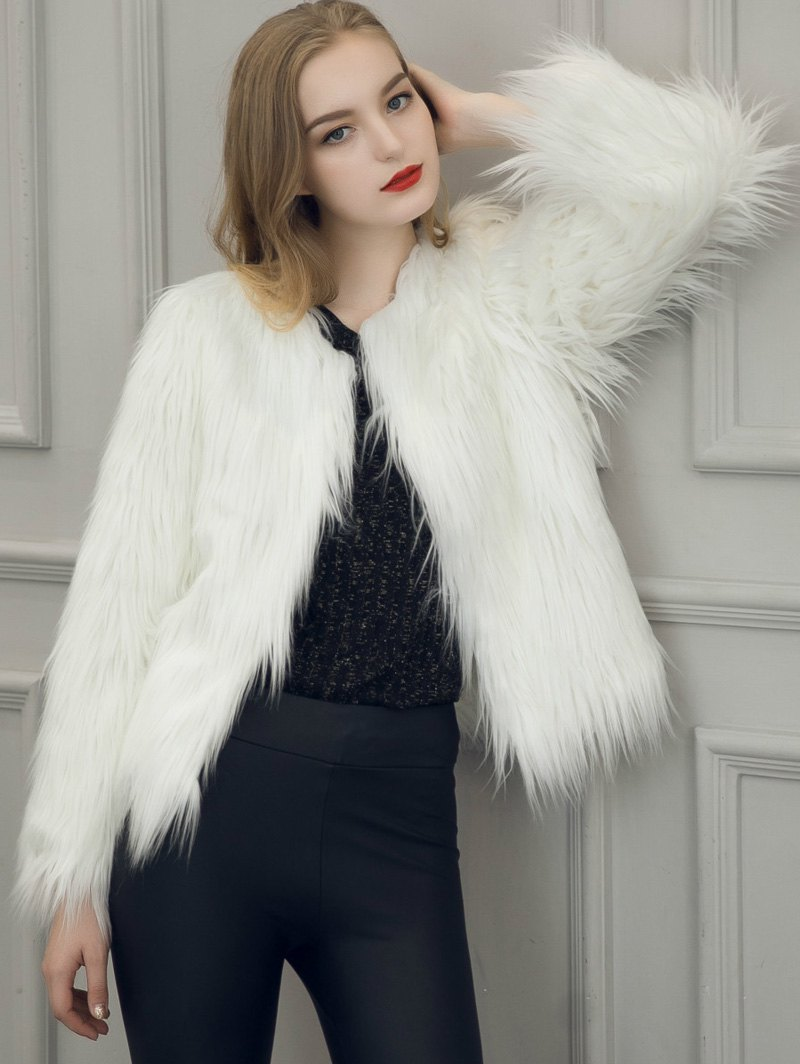 Long Sleeve Warm Faux Fur Coat