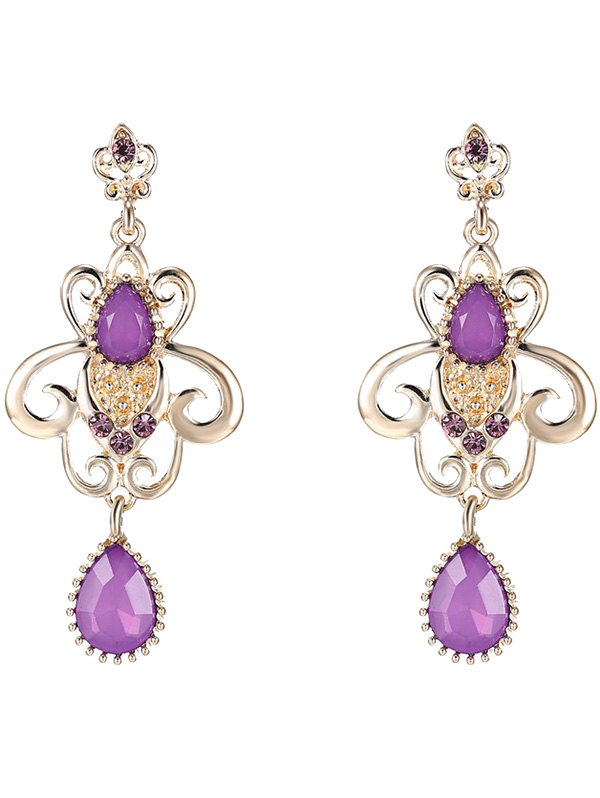 Water Drop Fake Amethyst Drop Earrings
