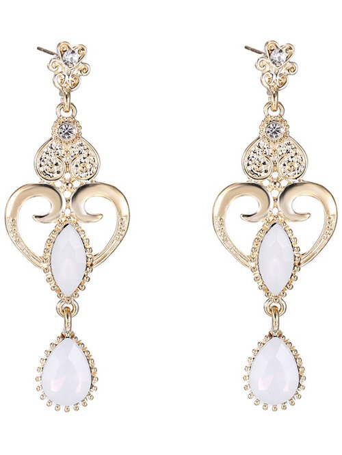 Water Drop Fake Opal Heart Earrings