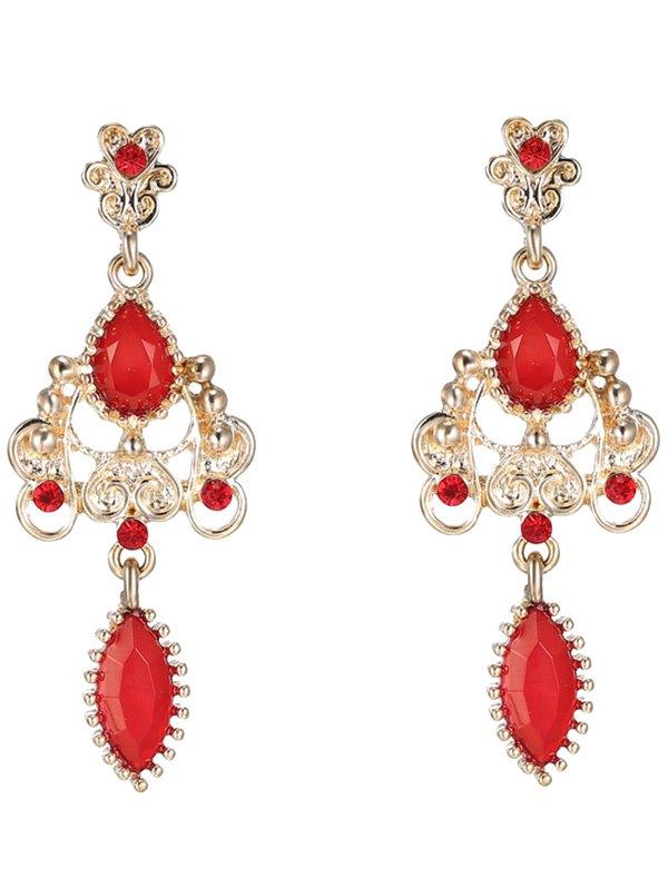 Fake Ruby Water Drop Earrings