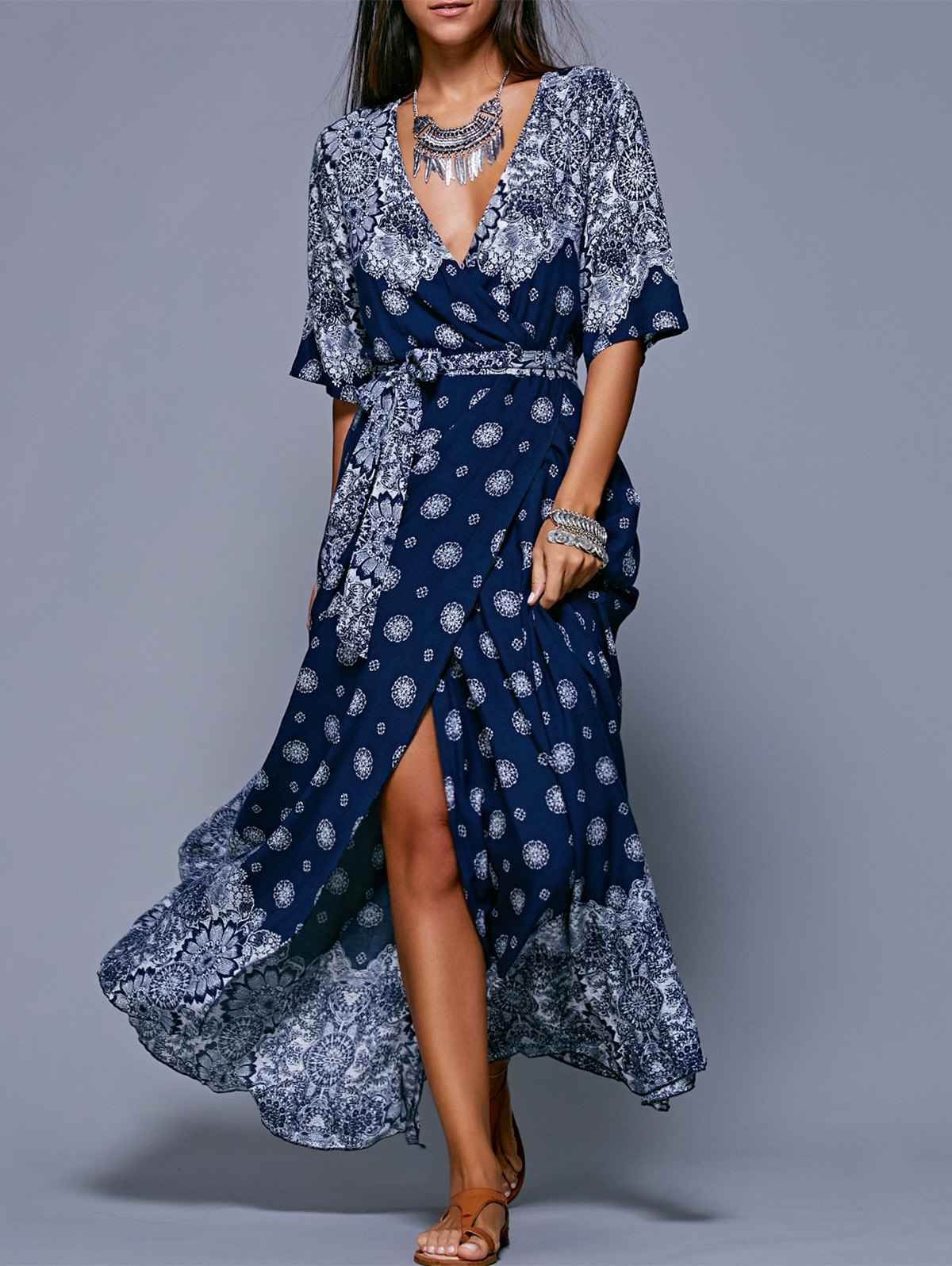 Bohemian Print Belted Maxi Dress