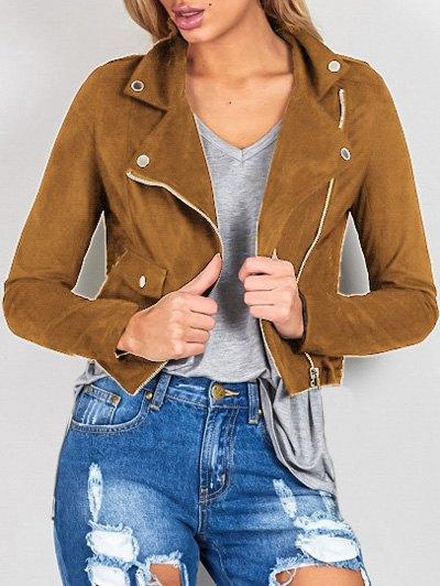 Lapel Collar Long Sleeve Suede Zipper Up Jacket