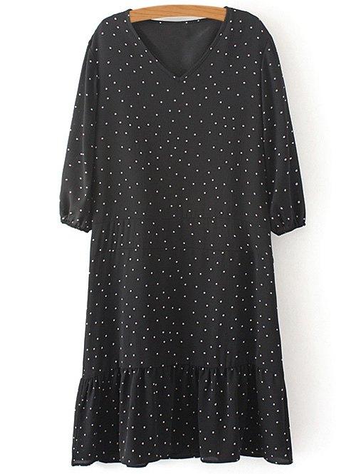 V Neck 3/4 Sleeve Polka Dot Dress