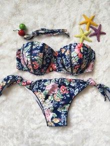 Floral Print String Bikini Set - L