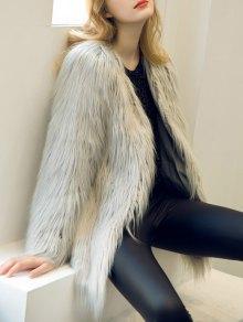 Open Front Fluffy Faux Fur Coat - Light Gray