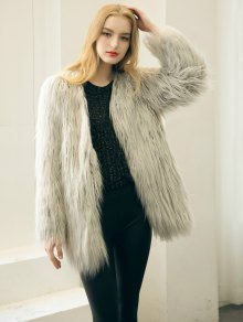 Open Front Fluffy Faux Fur Coat - LIGHT GRAY S