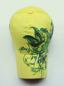 Rattan Butterfly Embroidery Baseball Hat - YELLOW