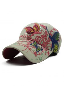 Rattan Butterfly Embroidery Baseball Hat - Off-white