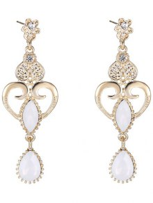 Heart Water Drop Fake Opal Earrings