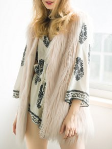 Thicken Solid Color Long Faux Fur Waistcoat - Nude Pink