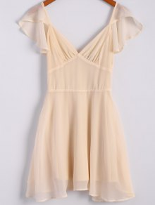 Solid Color Flounce Short Sleeve Chiffon Dress - Apricot S