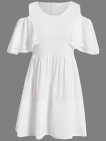 Off-The-Shoulder Solid Color Short Sleeve Dress