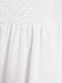 Off-The-Shoulder Solid Color Short Sleeve Dress - WHITE S