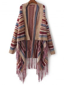 Striped Tassels Spliced Asymmetric Cardigan - Brown