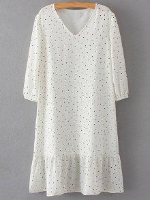 Polka Dot V Neck 3/4 Sleeve Dress