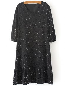 Polka Dot V Neck 3/4 Sleeve Dress