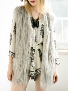 Thicken Solid Color Long Faux Fur Waistcoat - Gray