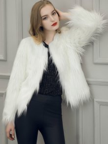 Fluffy Faux Fur Coat - White S