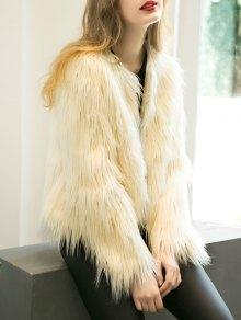 Fluffy Faux Fur Coat - Beige M