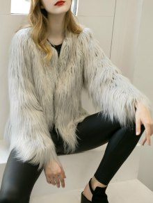 Fluffy Faux Fur Coat - Light Gray 3xl