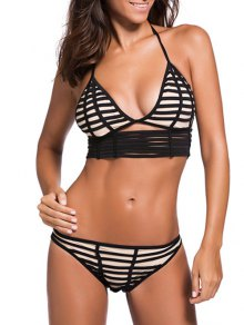 Hollow Out Halterneck Strings Bikini Set - Black M