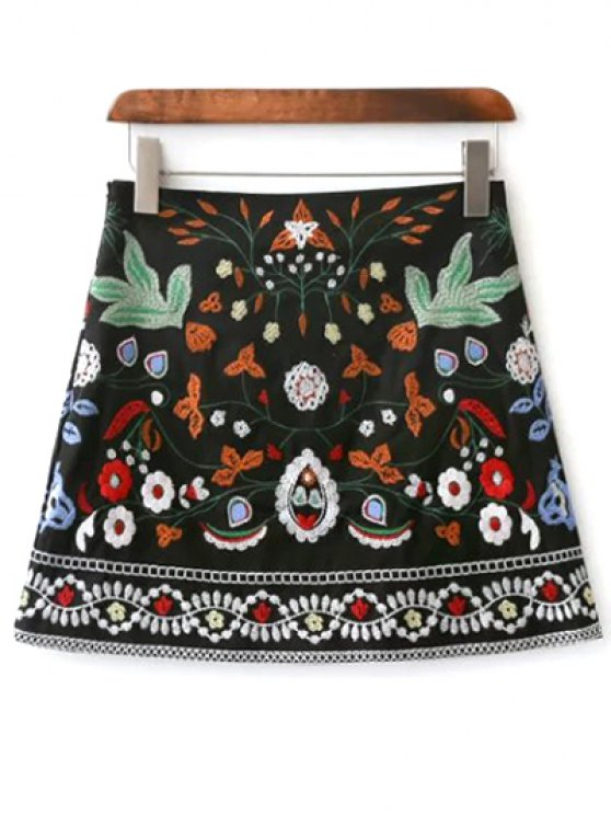 outfits Mini Floral Embroidered Flare Skirt - BLACK L