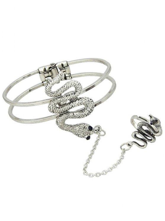 Snake Bracelet With Ring -   Mobile