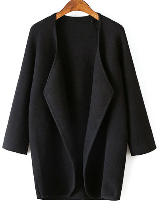 Solid Color Collarless 3/4 Sleeve Cardigan - BLACK ONE SIZE Mobile