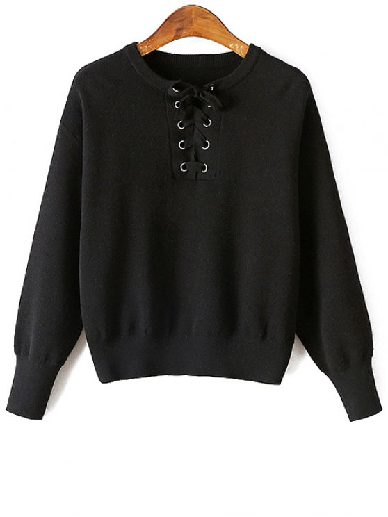 Lace-Up Round Neck Long Sleeve Sweater - BLACK ONE SIZE Mobile