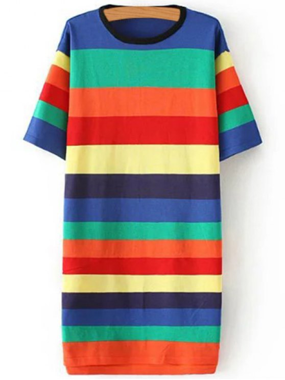 chic Striped Round Neck Color Block Sweater Dress - COLORMIX ONE SIZE
