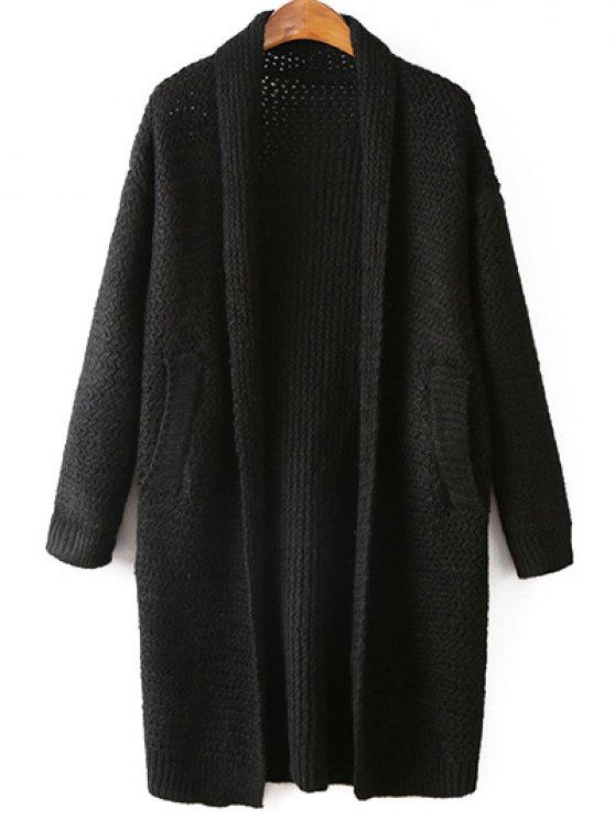 fashion Pockets Cardigan - BLACK ONE SIZE