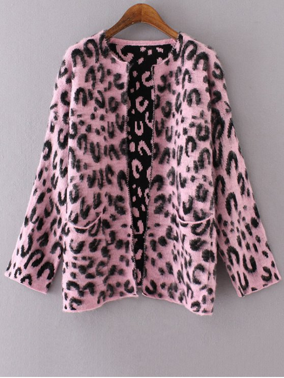 sale Long Sleeve Pockets Leopard Pattern Cardigan - PINK ONE SIZE