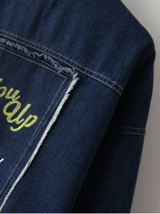 Embroidered Bat Wing Sleeve Denim Jacket - BLUE M Mobile