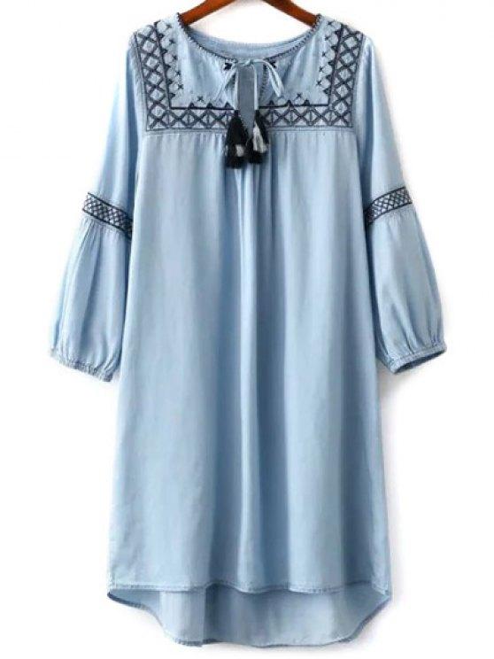 women Embroidered Round Neck Long Sleeve Dress - LIGHT BLUE L