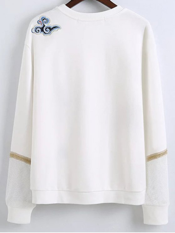 Embroidered Round Neck Long Sleeve Sweatshirt - WHITE M Mobile