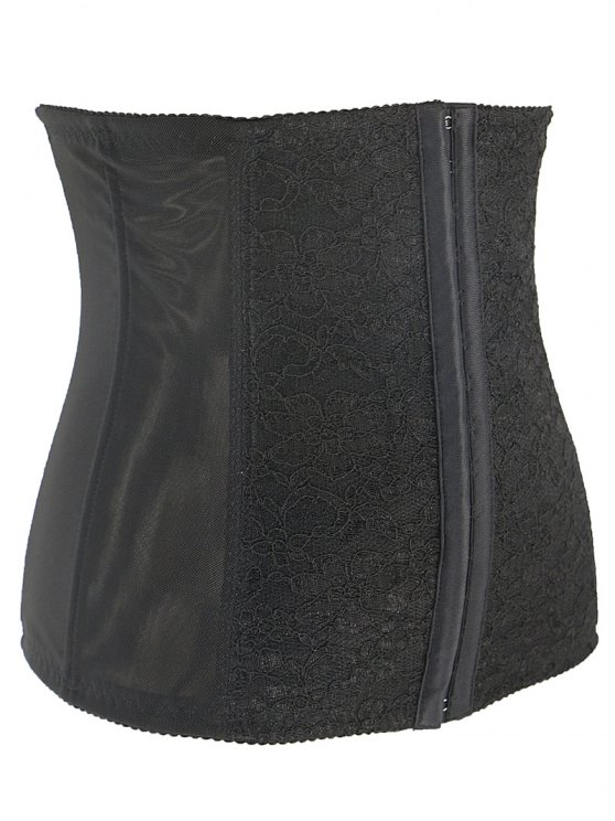 Lacework Spliced Waist Training Corset - BLACK 3XL Mobile