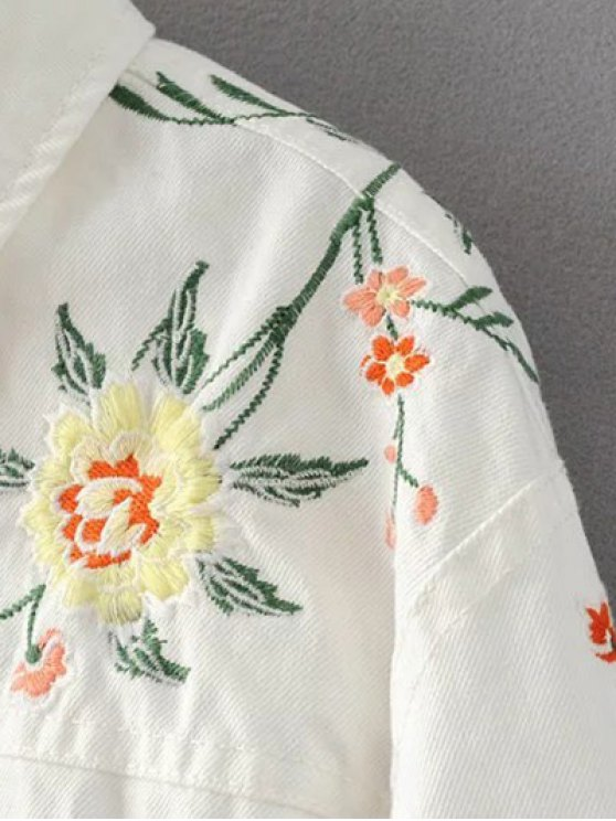 Floral Embroidered Turn-Down Collar Jacket - WHITE S Mobile