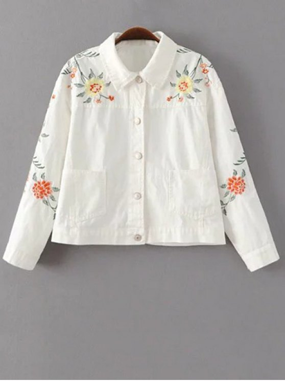 shops Floral Embroidered Turn-Down Collar Jacket - WHITE L