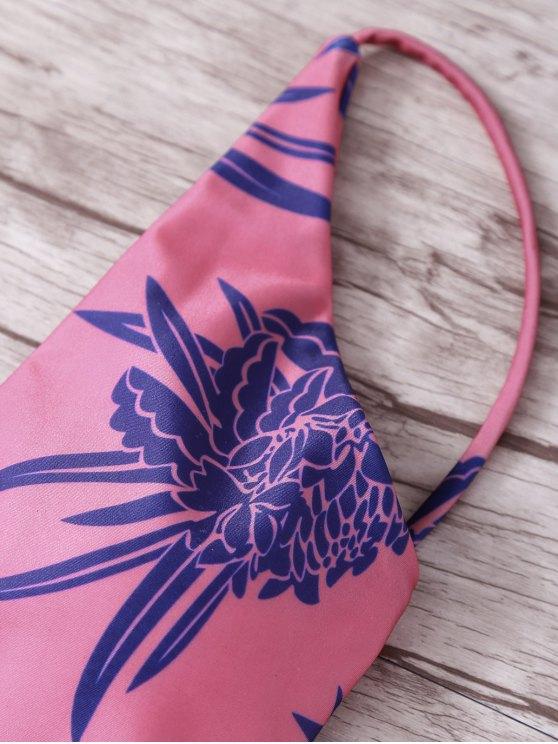 Tropical Print Spaghetti Straps One Piece Swimwear - RED M Mobile