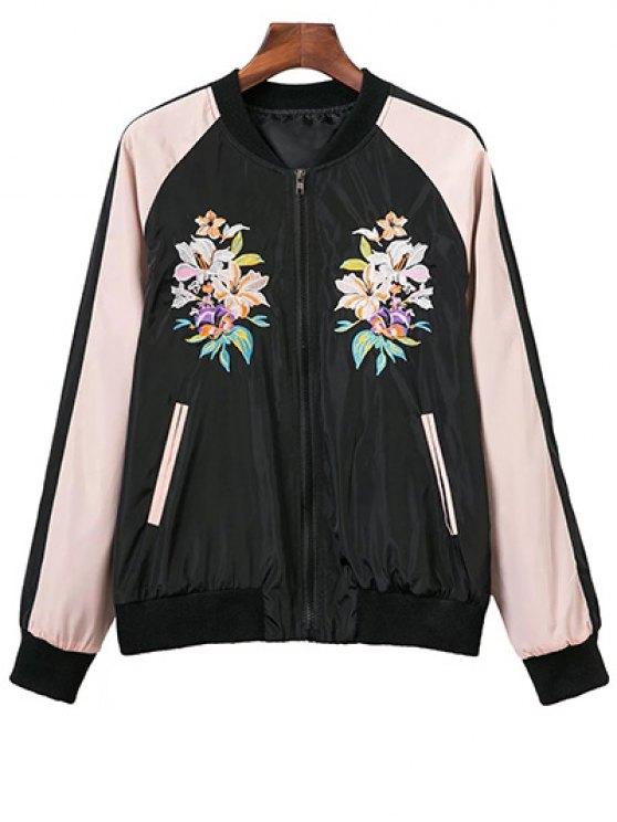 fashion Raglan Sleeve Flower Embroidered Bomber Jacket - BLACK L