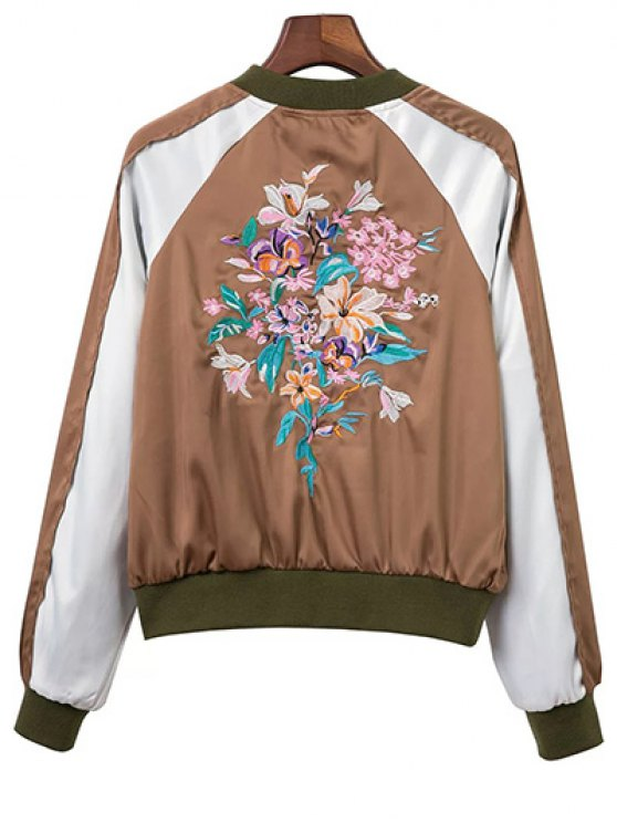 Color Block Floral Embroidered Stand Neck Jacket - DARK KHAKI L Mobile