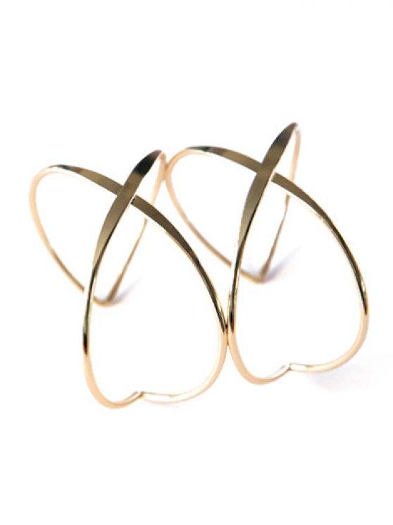Heart Crisscross Layered Bracelet - GOLDEN  Mobile