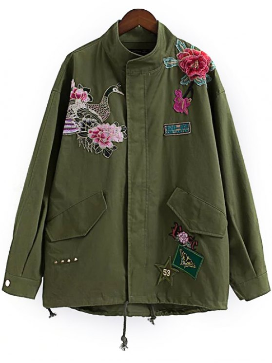 affordable Floral Embroidered Utility Jacket - ARMY GREEN S