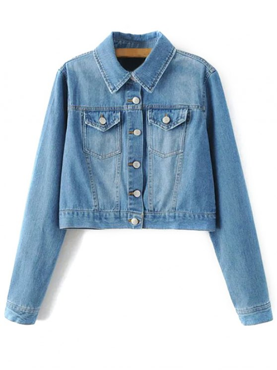 Embroidered Back Denim Jacket - BLUE M Mobile