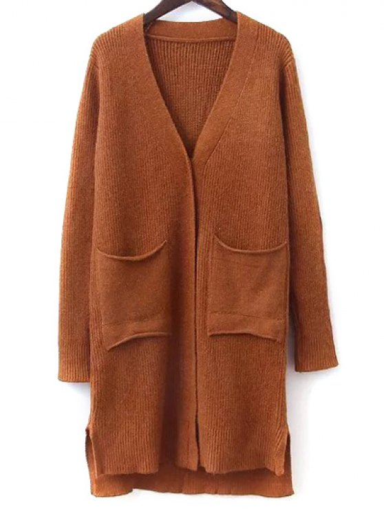 Elbow Patch High Low Hem Cardigan - GINGER ONE SIZE Mobile